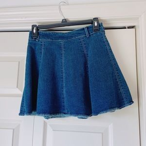 Flared O-Ring Zipper Denim Skirt Skort